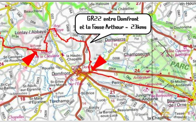 Randonnée en Normandie - Carte du GR22 entre Domfront et la Fosse Arthour