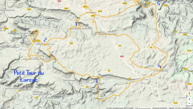 Randonnée Larzac - carte du petit Tour du Larzac par le GR71C