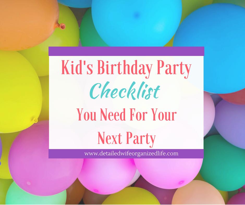 Kid's Birthday Party Checklist