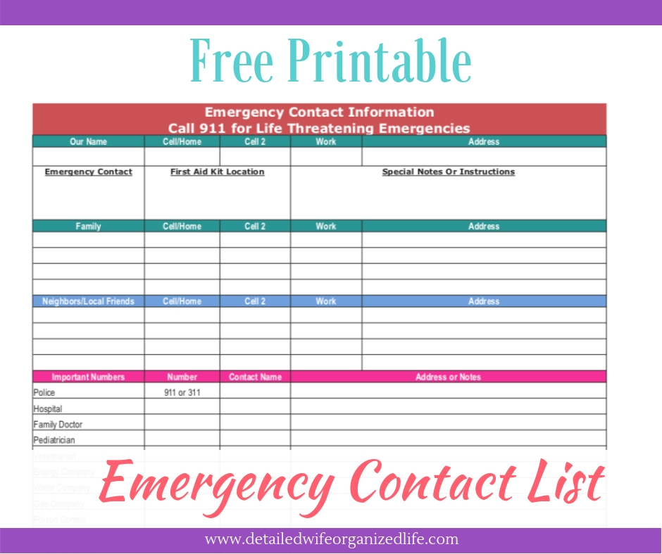 photograph regarding Free Printable Contact List referred to as No cost Printable Unexpected emergency Make contact with Checklist Comprehensive Spouse