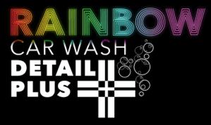 Rainbow Carwash Detail Plus logo white on black