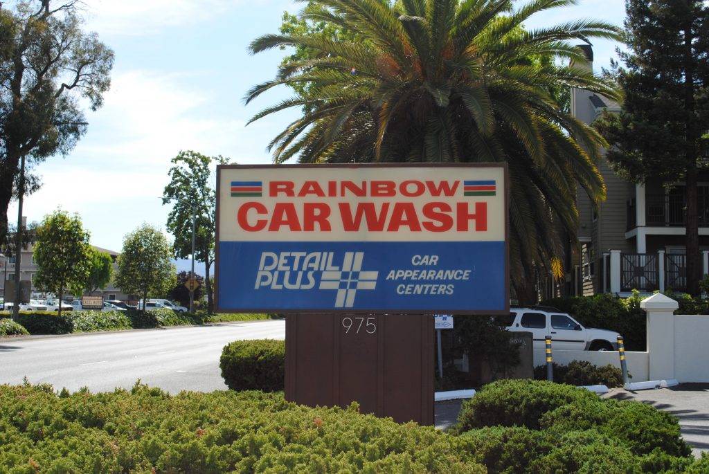 Sign at Rainbow Carwash Detail Plus in Sunnyvale, Ca