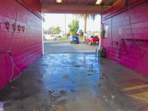Pink carwash bay at Rainbow Carwash Detail Plus in Sunnyvale, Ca