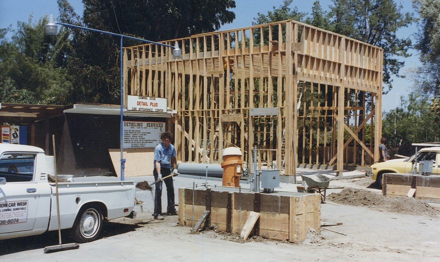 Old photo of building the detail shop at Rainbow Carwash Detail Plus in Sunnyvale, California