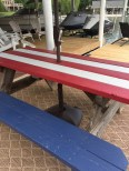 Picnic table painted in flag design