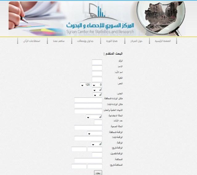 البحث عن المعتقلين في بيانات المركز السوري للإحصاء والبحوث