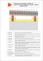 Detalle constructivo. QAC012. Cubierta plana transitable, ventilada, con solado fijo, impermeabilización mediante láminas de PVC