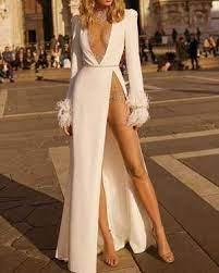 High-thigh-split dress