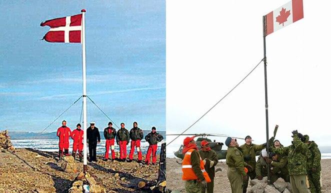 canada denmark boundary hans island national flag standoffs