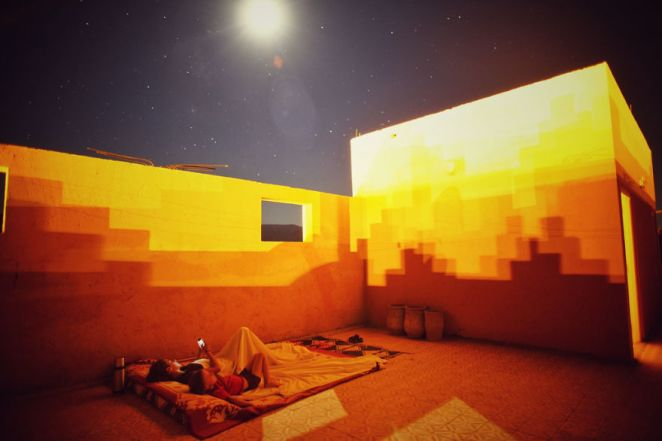 Sleeping on a hotel rooftop in Morocco