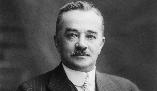 This guy is Milton Hershey, of Hershey's Chocolate, he had tickets to board the Titanic that day, but cancelled due to another business meeting - In a way, his chocolates saved him