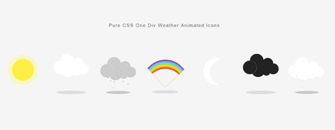 Pure CSS One Div Weather Animated Icons