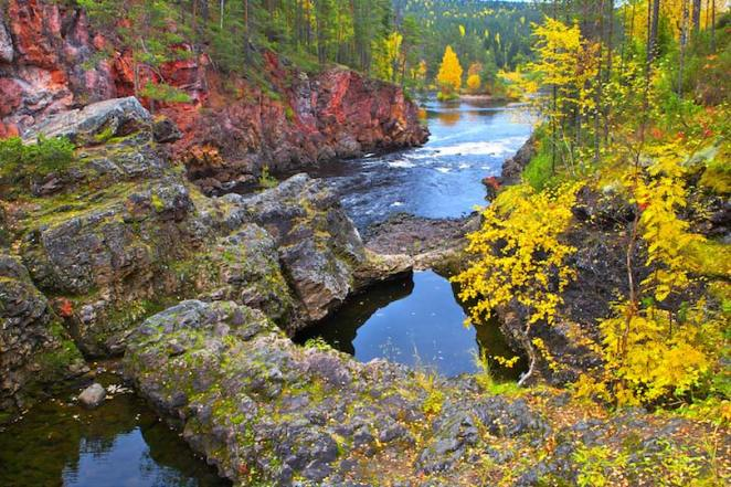 Oulanka National Park in colorful autumn, Northern Finland.