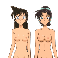 Ran Mouri and her gf don't understand why it's so dark around... and why they are both nude?