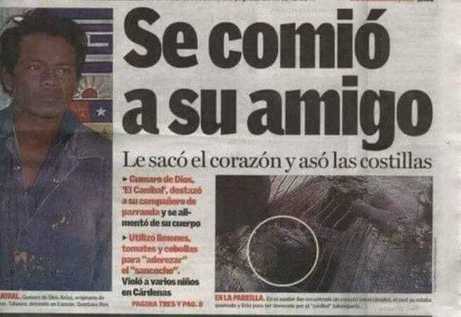 Periodico El canibal Gumaro de Dios