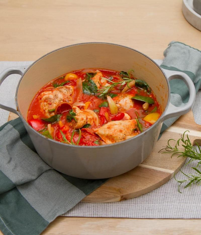 Kyllinggryte med chorizo, tomat og paprika