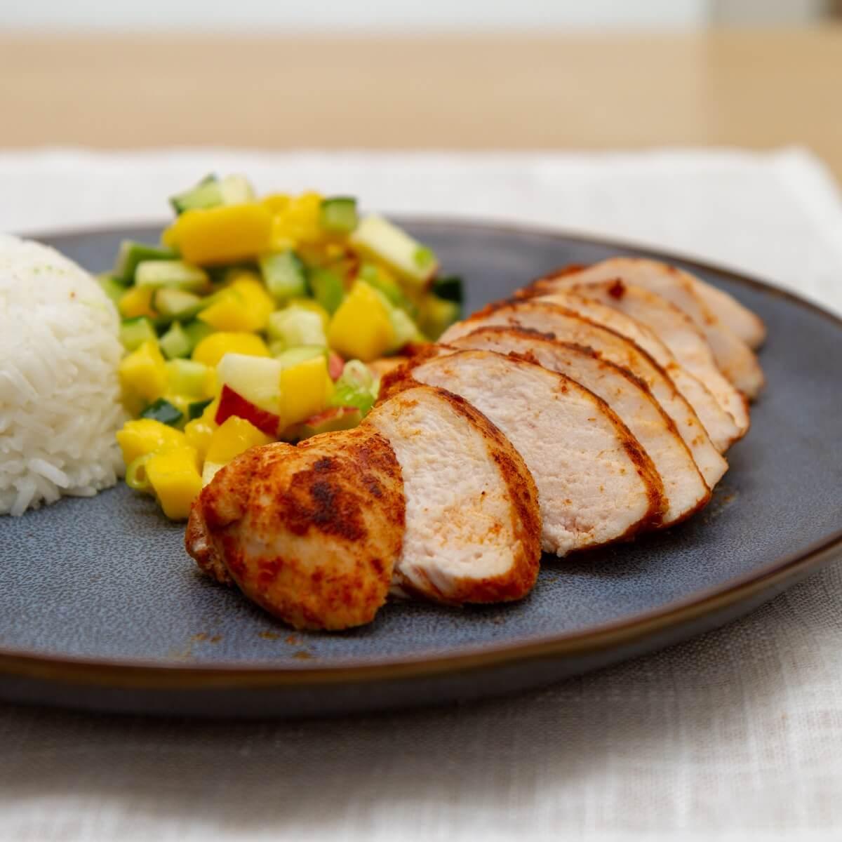 Kylling curry med kokosris og mangosalat