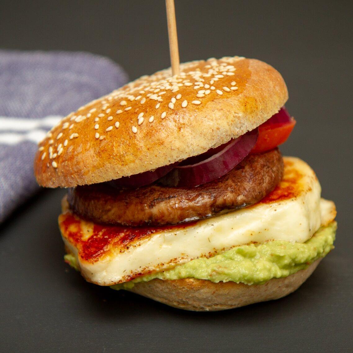 Halloumiburger med portobello