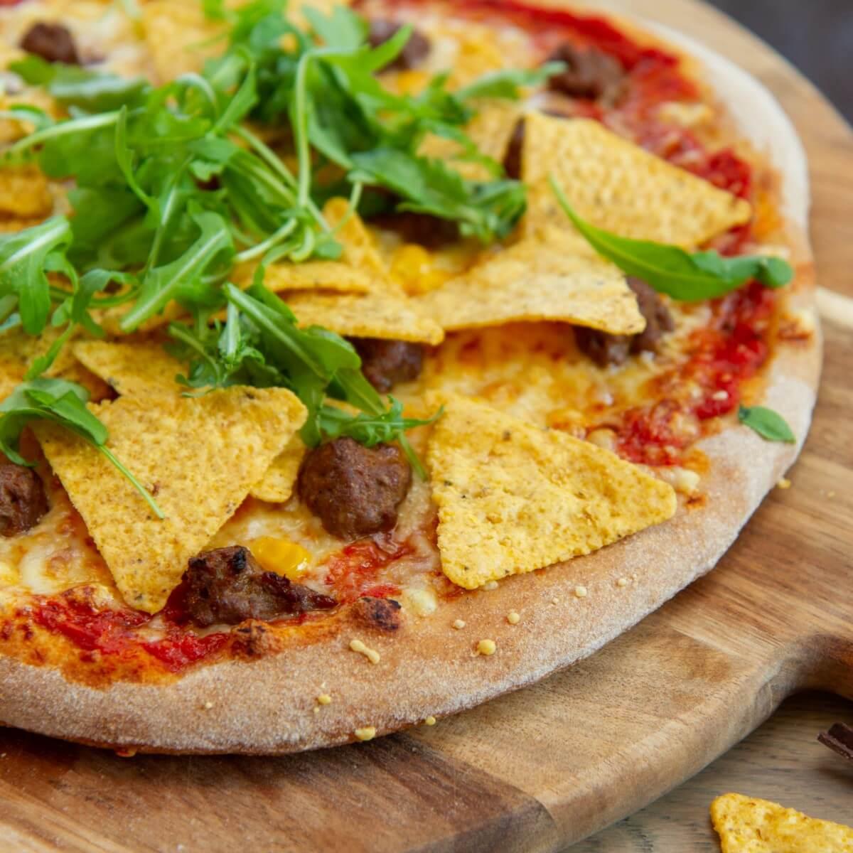 Tex mex pizza med tortillachips