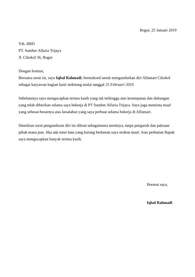 Contoh Surat Pengunduran Diri Kerja Indomaret Contoh Surat