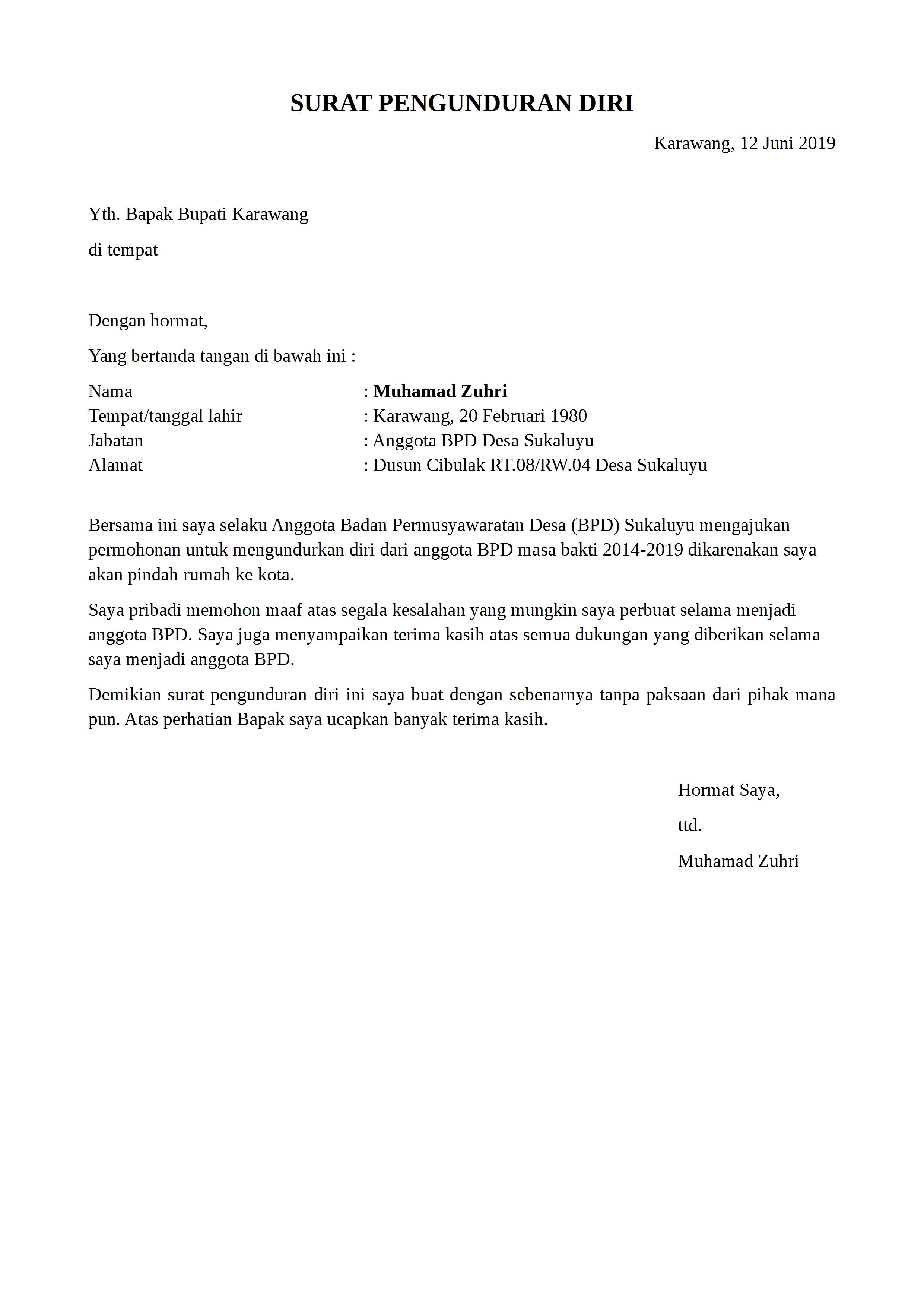Contoh Surat Pengunduran Diri Perangkat Desa Yang Baik Dan