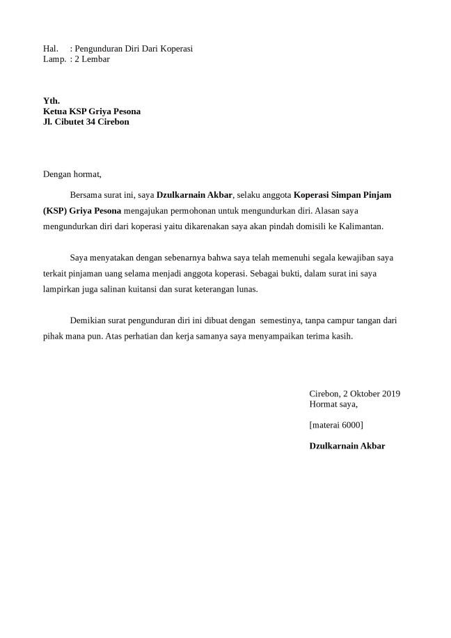 Contoh Surat Pengunduran Diri Koperasi Yang Baik Dan Benar