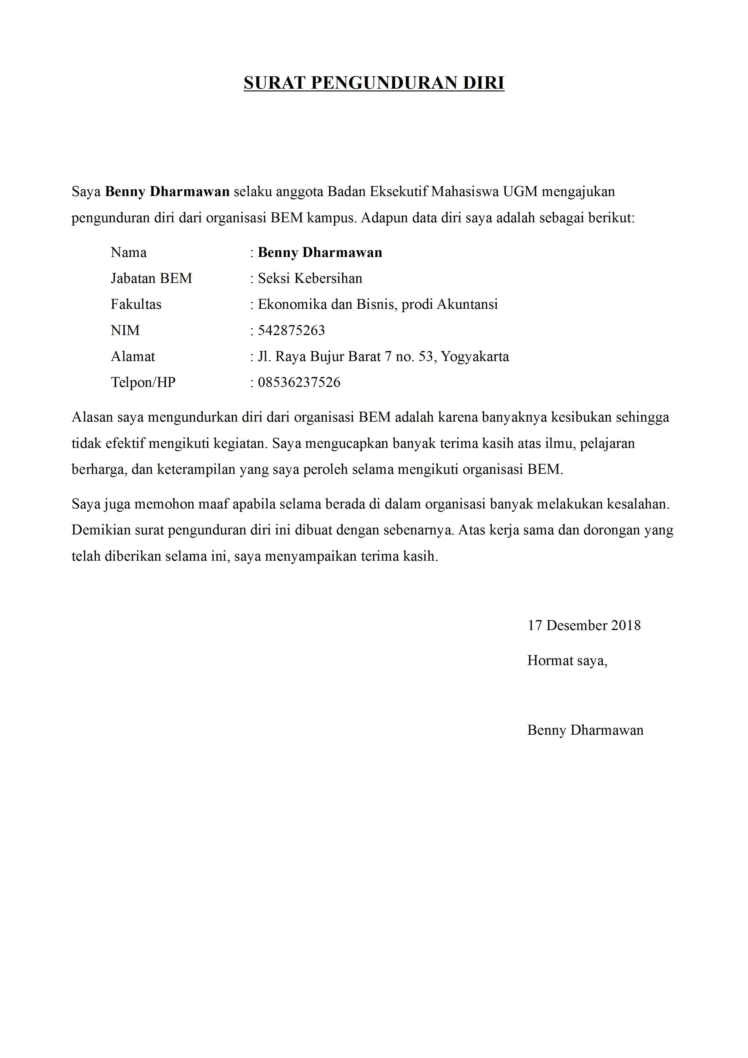 Contoh Surat Pernyataan Pengunduran Diri Dari Organisasi