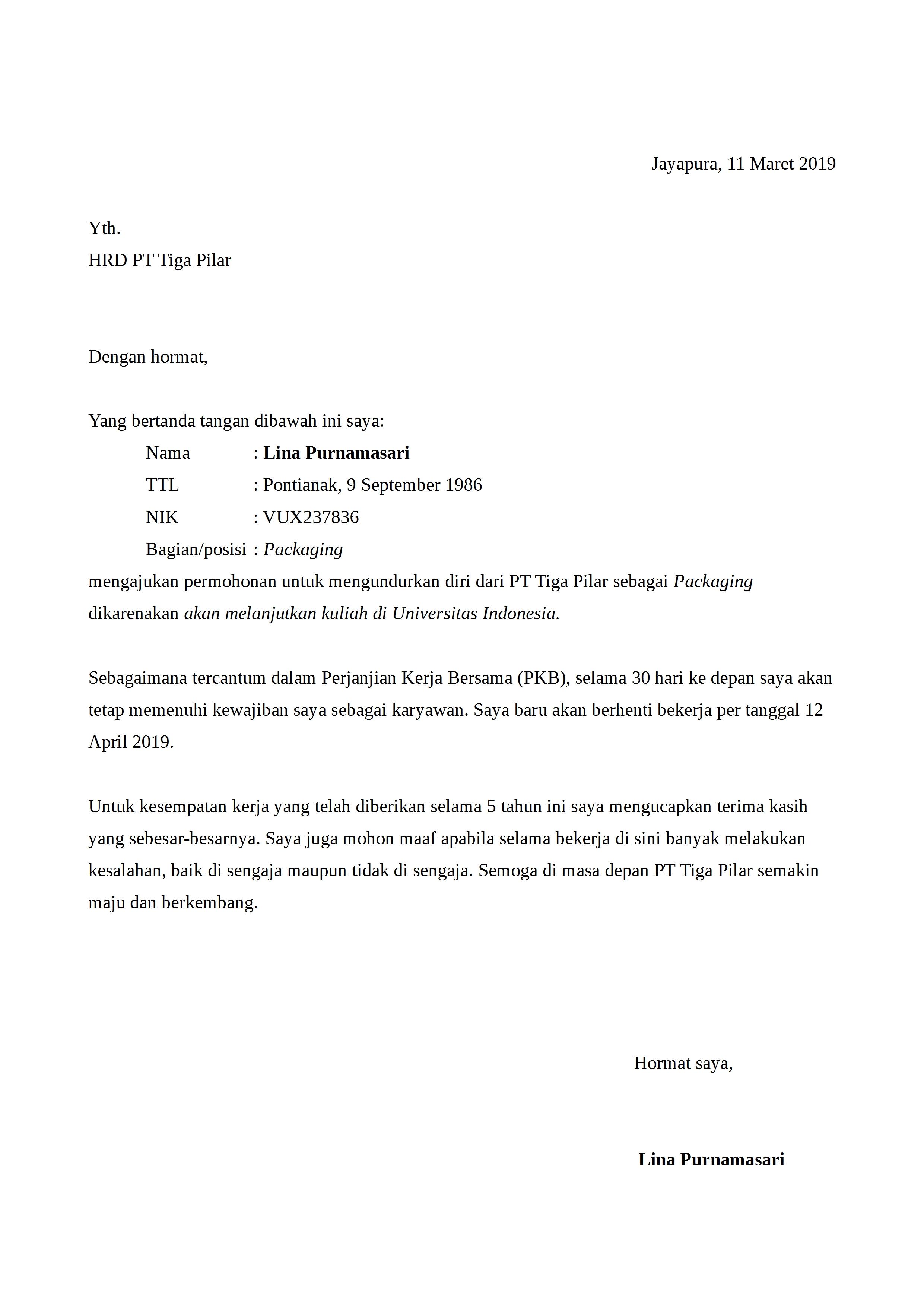 Contoh Surat Pengunduran Diri Dari Kuliah Dan Universitas