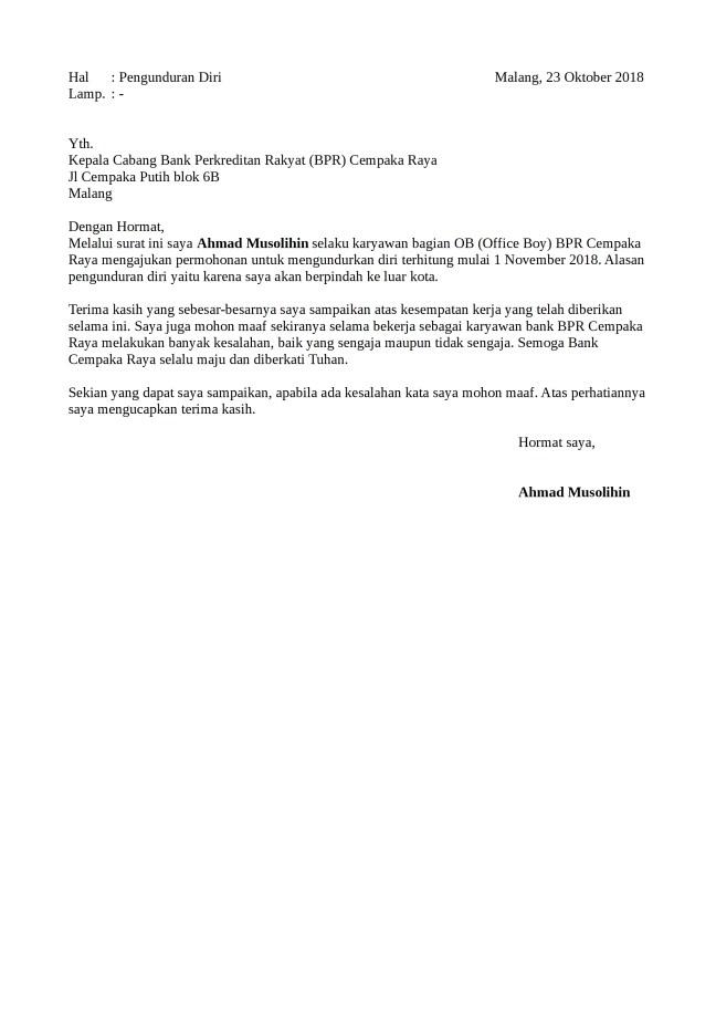 Contoh Surat Pengunduran Diri Karyawan Yang Baik Dan Resmi ...