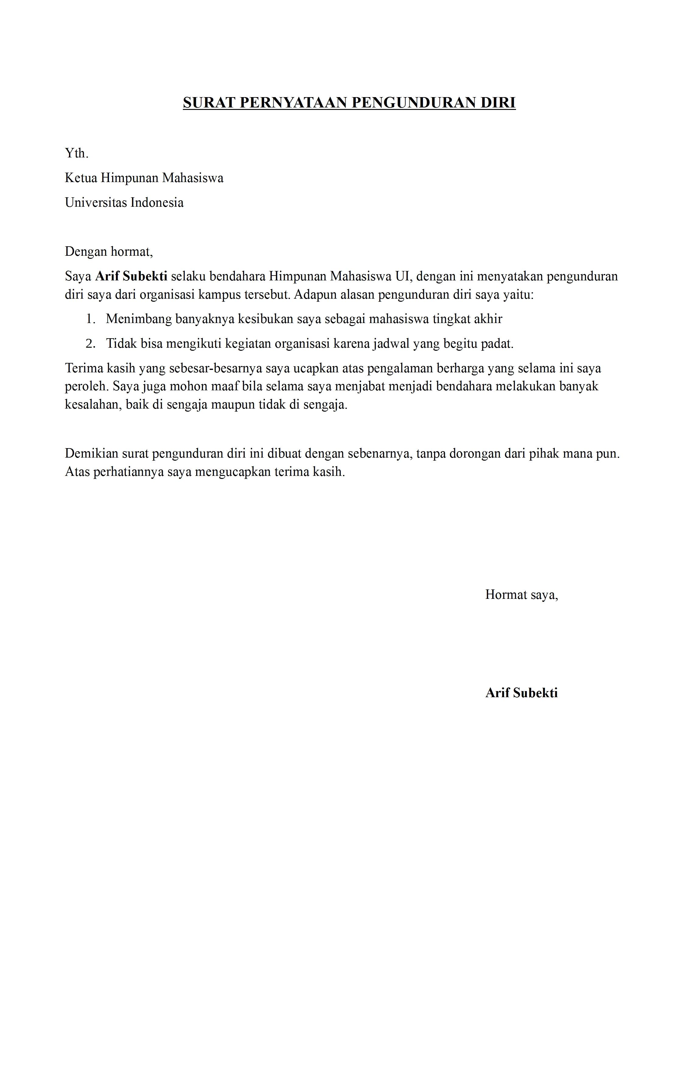 Contoh Surat Pengunduran Diri Sebagai Bendahara Sekolah Download Kumpulan Gambar