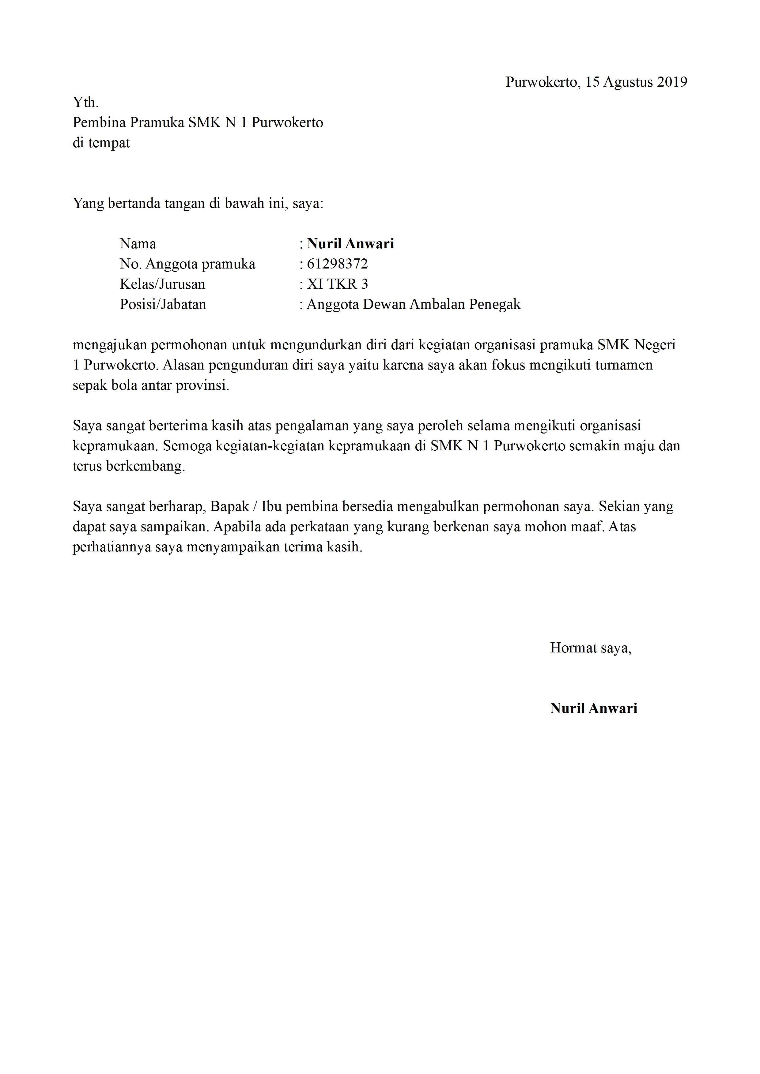 Surat Pengunduran Diri Organisasi Sekolah Yang Baik Dan