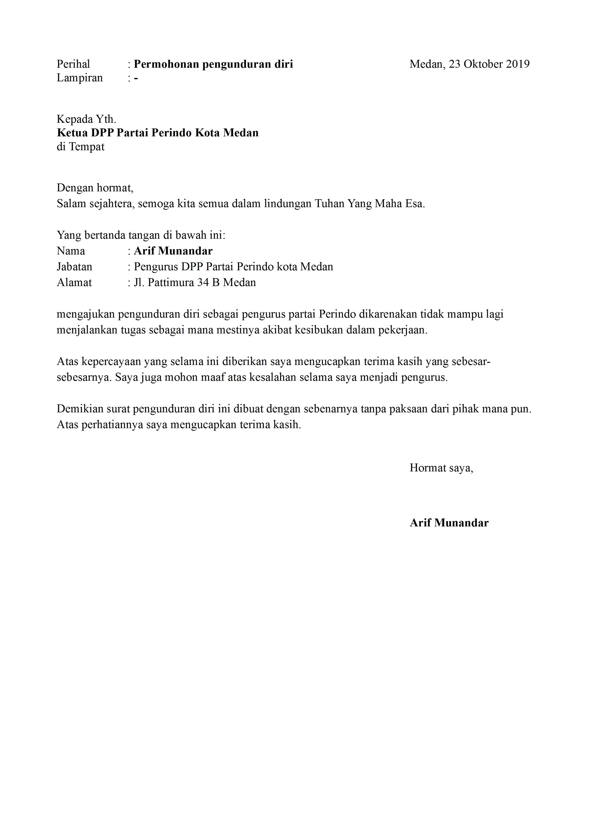 Contoh Surat Pengunduran Diri Sebagai Direktur Dalam ...