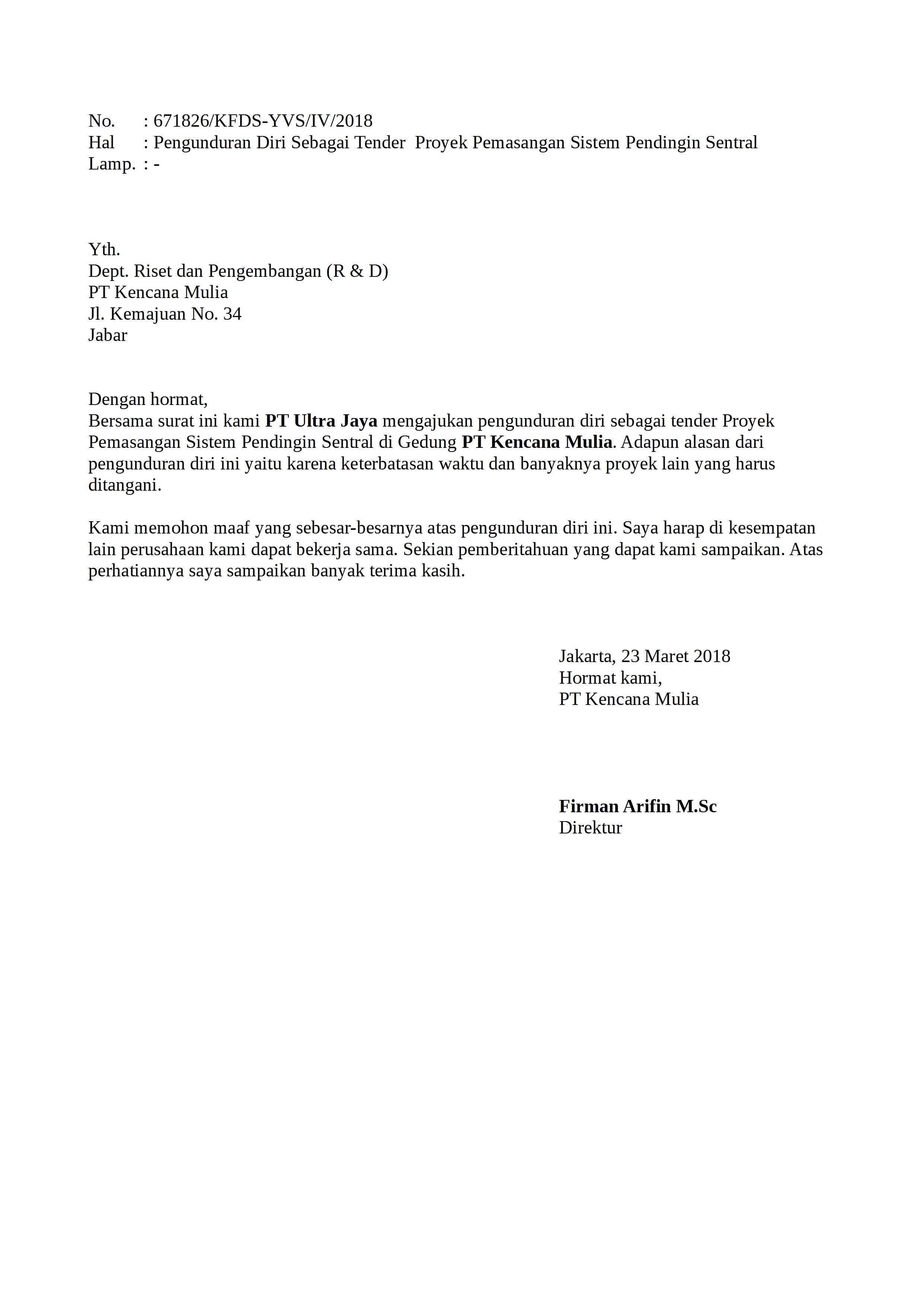 Contoh Surat Pengunduran Diri Perusahaan Bumn Detiklife