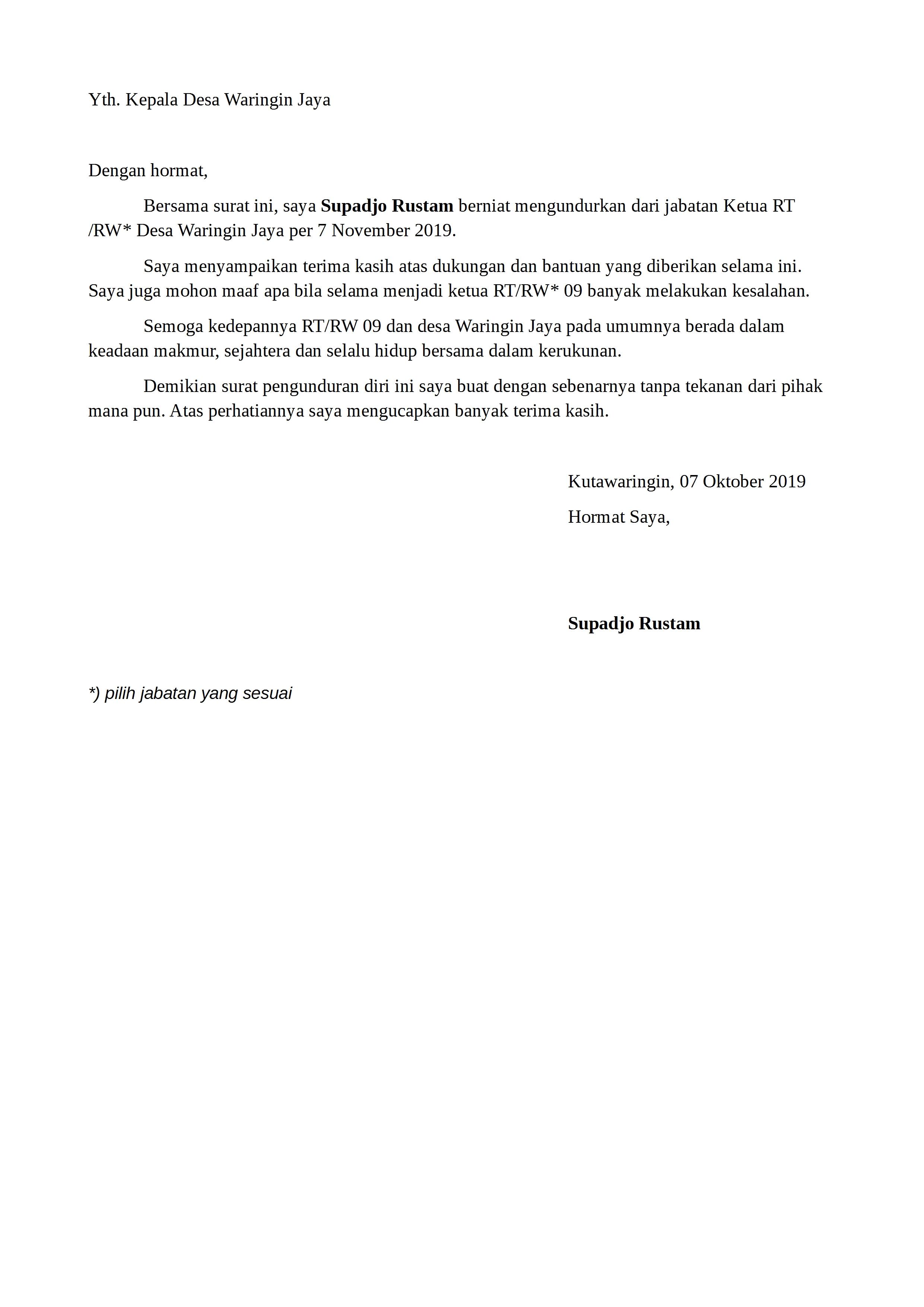 Surat Pengunduran Diri Rt Rw Detiklife