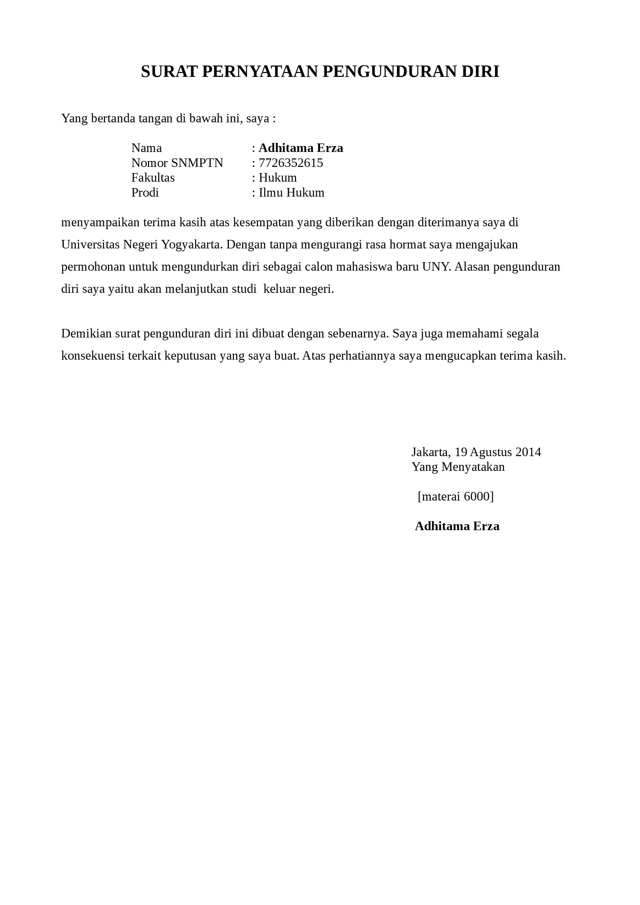 Contoh Surat Pengunduran Diri Mahasiswa Yang Baik Dan Sopan