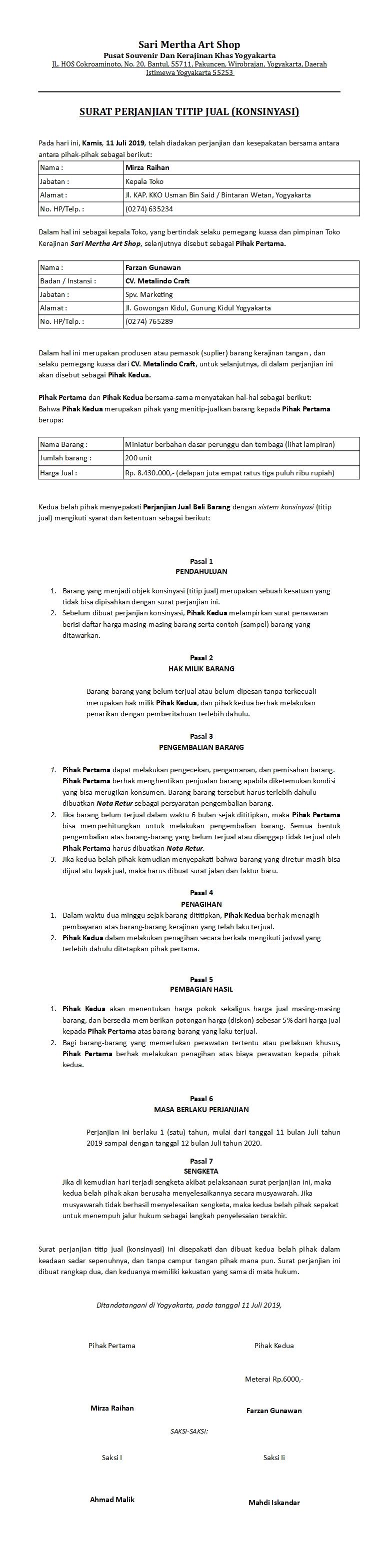Contoh Surat Perjanjian Konsinyasi Atau Titip Jual Sederhana