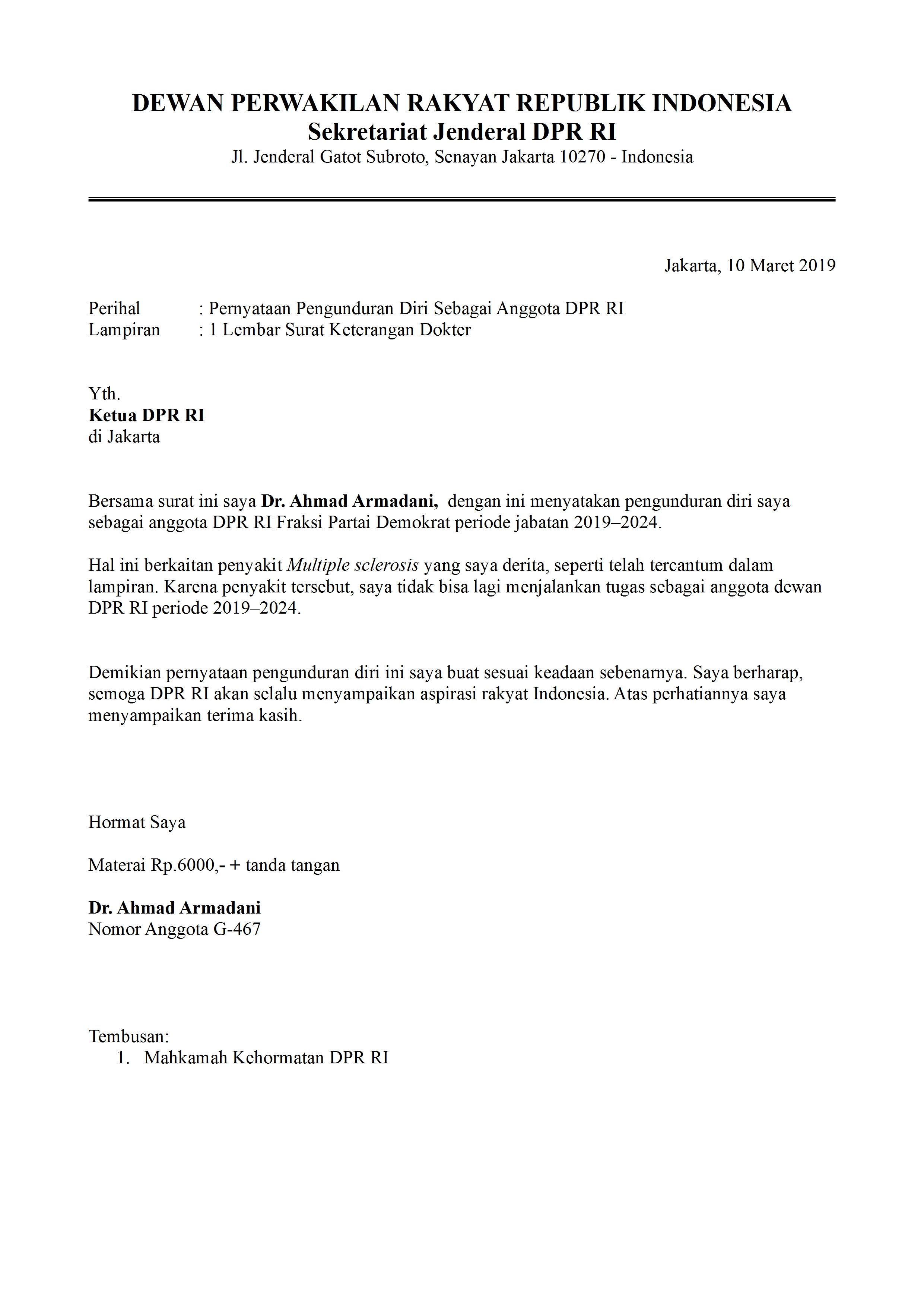 Contoh Surat Pengunduran Diri Anggota Legislatif Detiklife