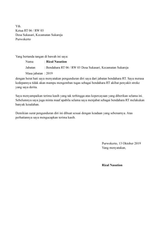 surat pengunduran diri bendahara rt