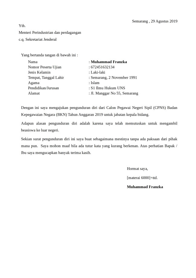 surat pengunduran diri cpns