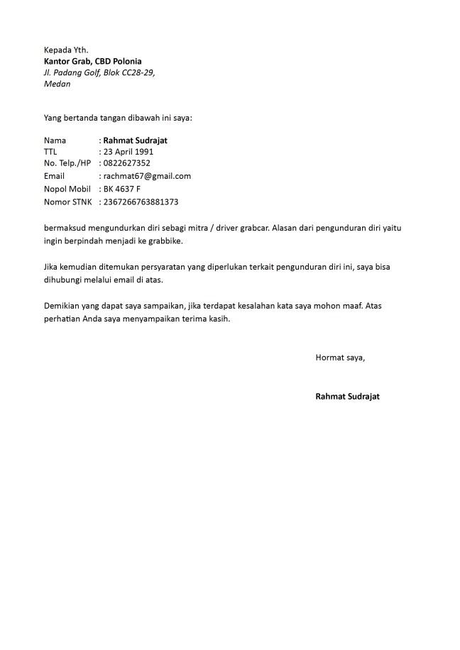 surat pengunduran diri grabcar