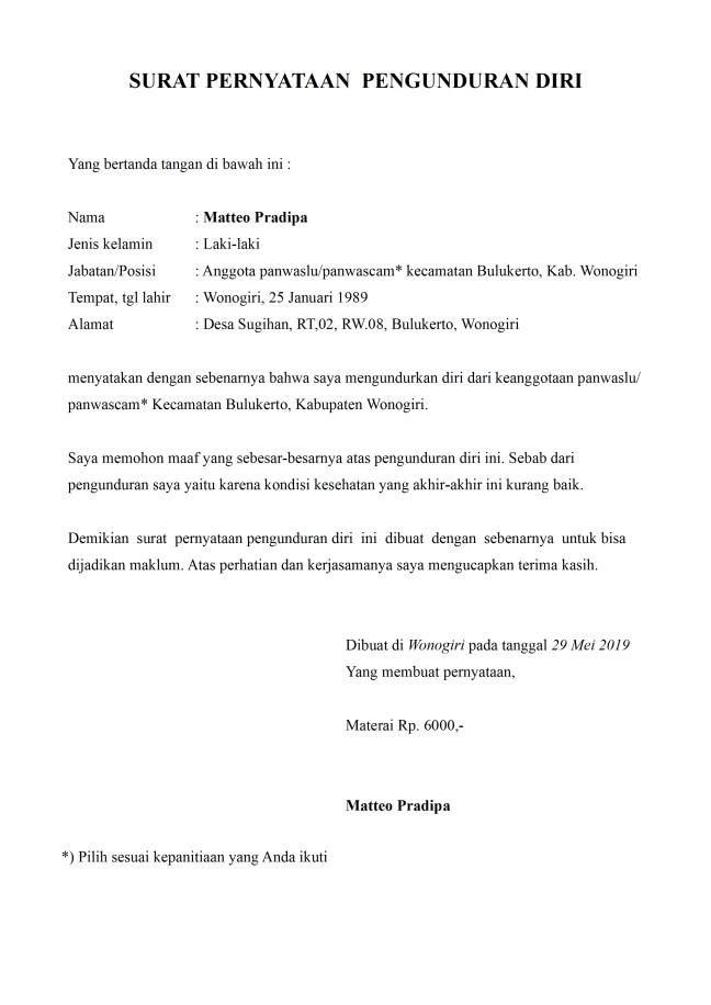 surat pengunduran diri panwaslu panwascam