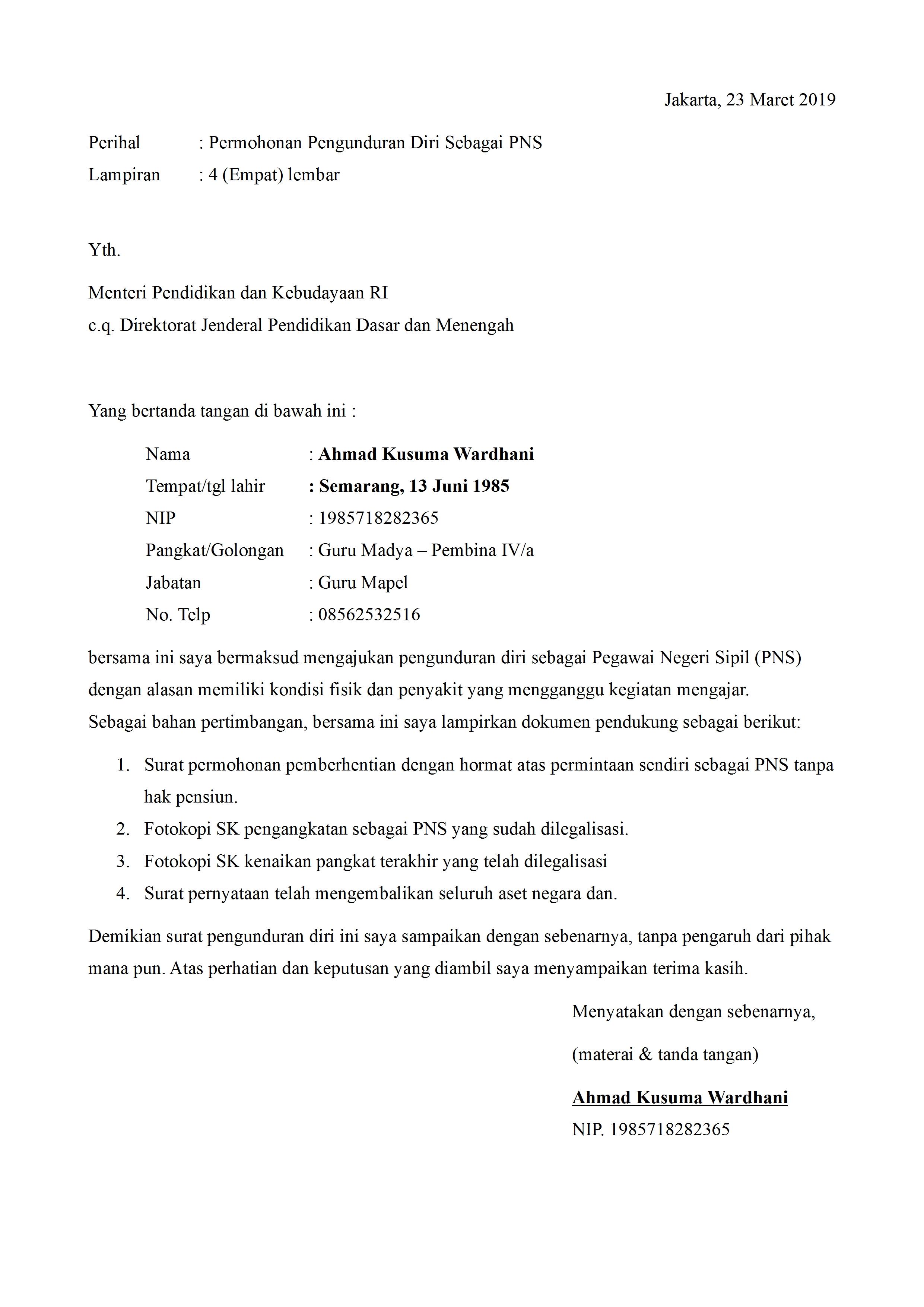 Contoh Surat Pernyataan Pengunduran Diri Dari Pns ...