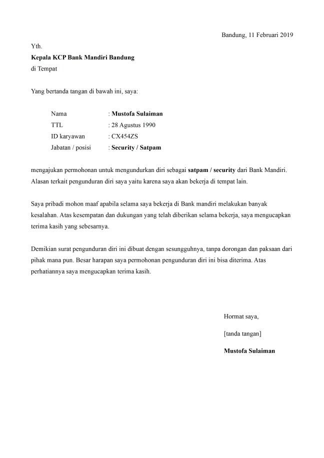 surat pengunduran diri satpam bank
