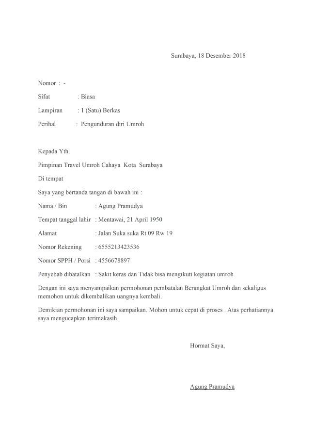 surat pengunduran diri umroh