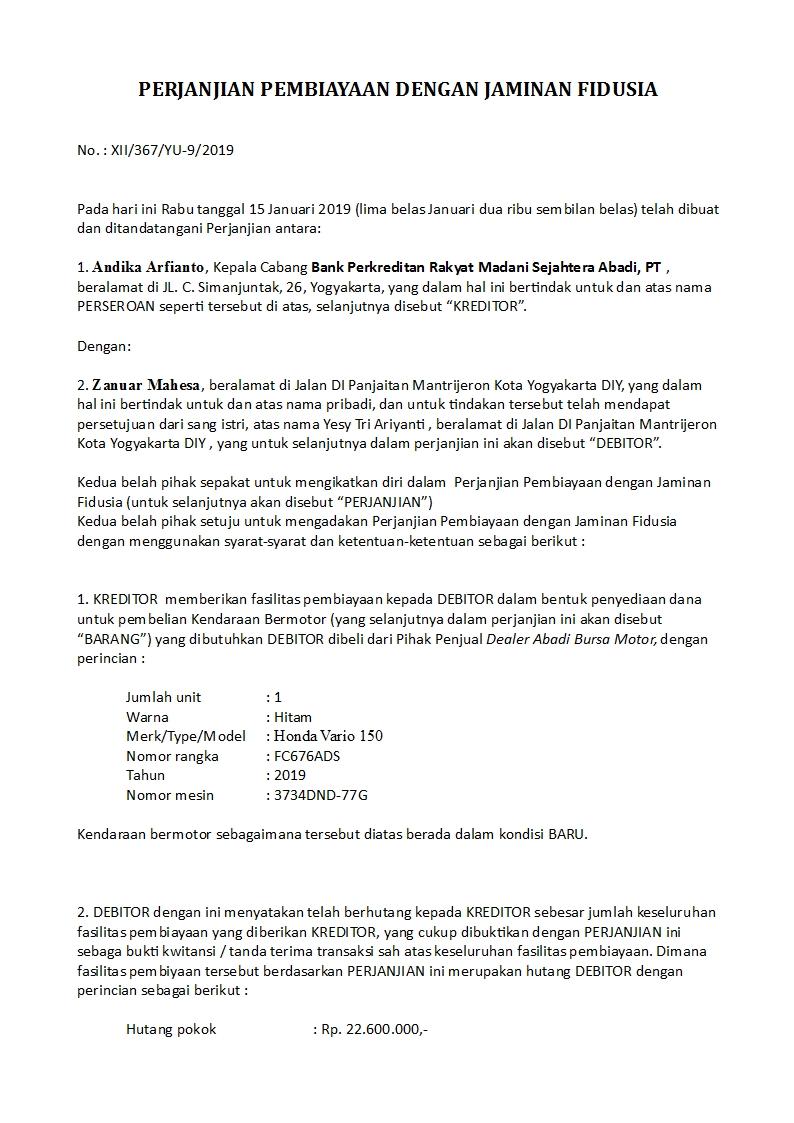 Contoh Surat Perjanjian Fidusia Resmi Detiklife
