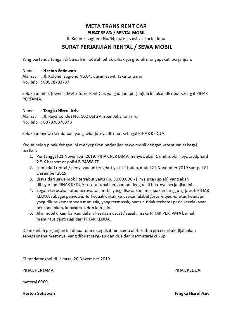 Contoh Surat Perjanjian Rental Atau Sewa Kendaraan Yang Baik Dan