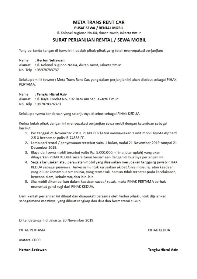 surat perjanjian rental mobil