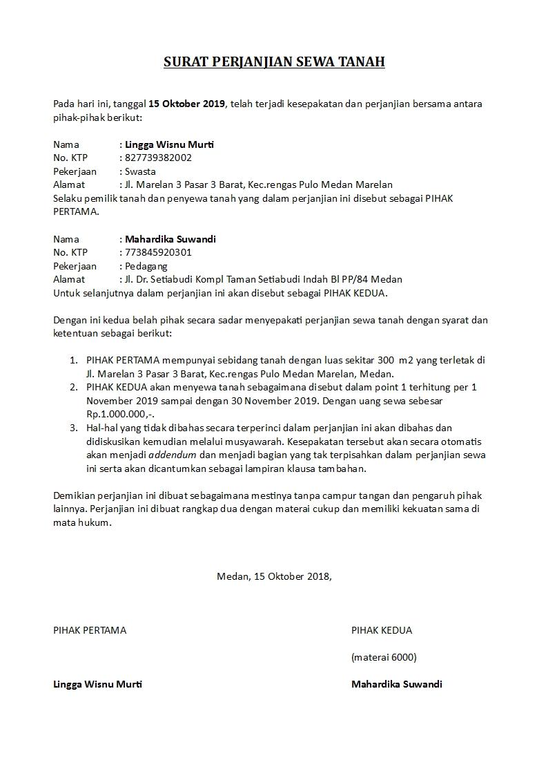 Surat Perjanjian Sewa Tanah Doc Word Detiklife