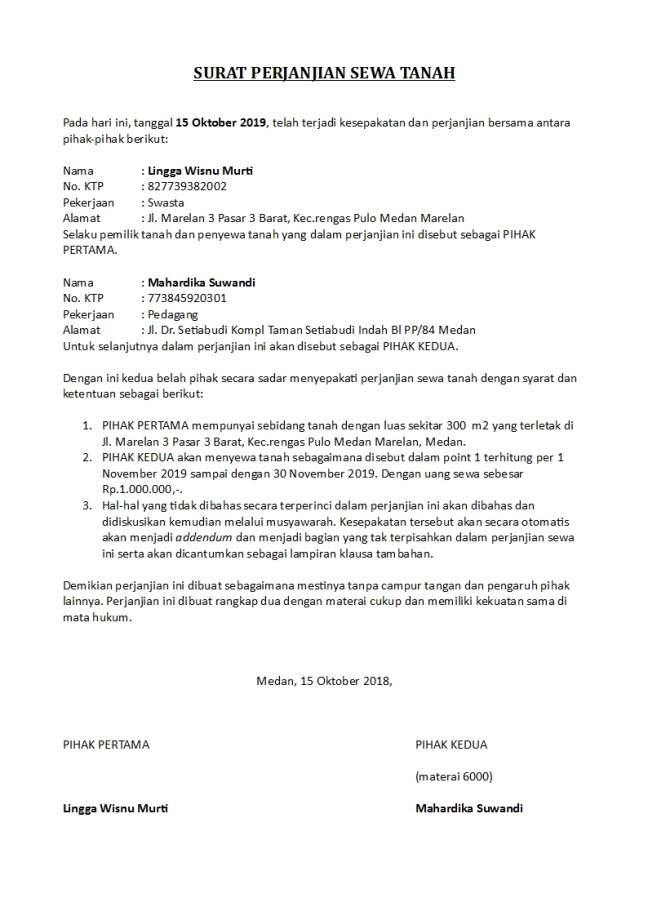 surat perjanjian sewa tanah
