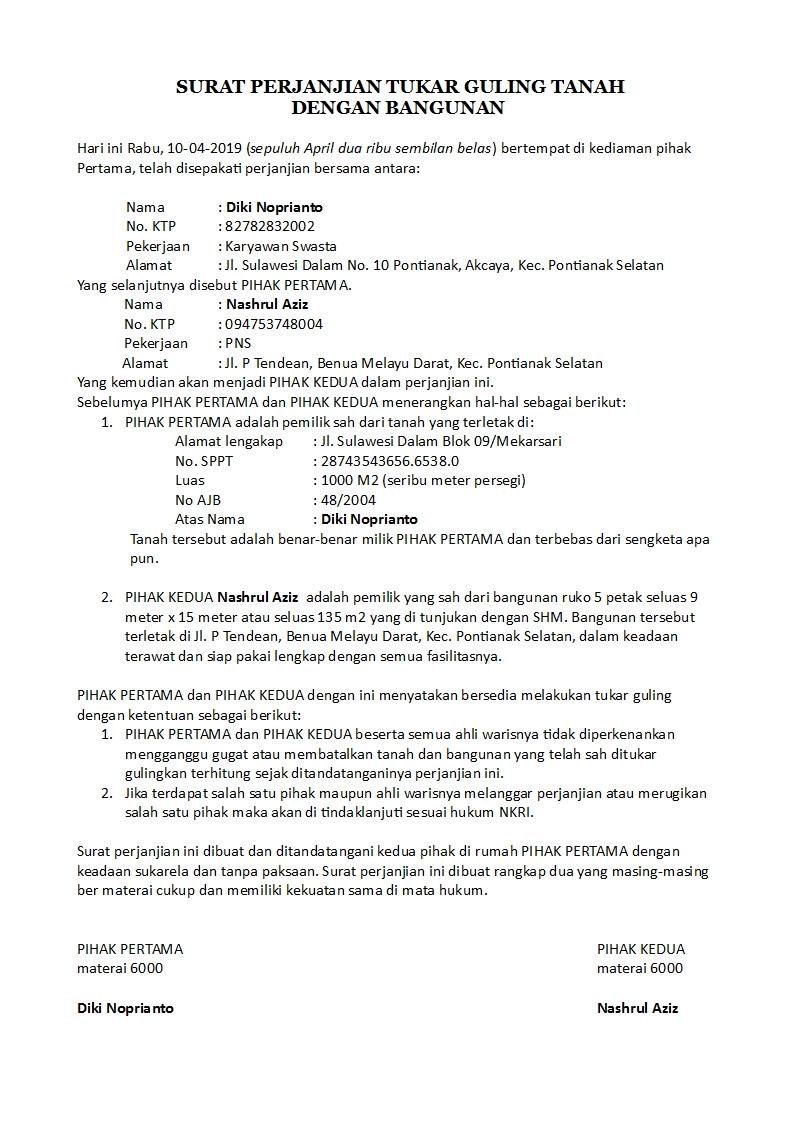 Contoh Surat Perjanjian Tukar Guling Yang Benar Dan Sah